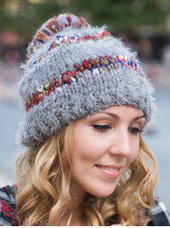 Stylish Ball Decorated Winter Knitted Hat - GRAY