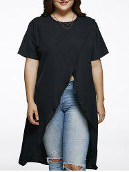 Plus Size High Slit Long Blouse -