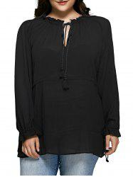 Plus Size Ruffled Collar Tie-Front Blouse - BLACK 5XL