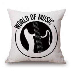 World of Music Print Linen Sofa Bedding Pillow Case - WHITE AND BLACK