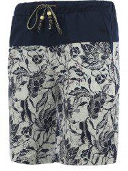 Drawstring Foral Printed Spliced Board Shorts For Men