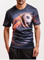 Fashion 3D Football Print Round Neck Short Sleeve T-Shirt For Men