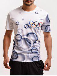 Olympic Rings Print Round Neck Short Sleeve T-Shirt For Men -