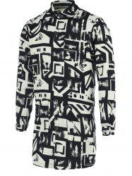 Chic Geometric Print Turn-Down Collar Black and White Coat For Men -