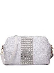 Graceful Lace and Rhinestones Design Shoulder Bag For Women - SILVER