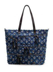 Leisure Denim and Holes Design Shoulder Bag For Women -