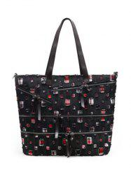 Leisure Denim and Holes Design Shoulder Bag For Women - BLACK