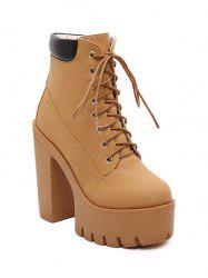 Trendy Tie Up and Chunky Heel Design Short Boots For Women