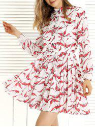 Long Sleeve Pleated Swing Print Dress - RED/WHITE XL