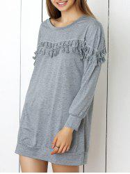 Long Sleeve Fringed Grey Dress