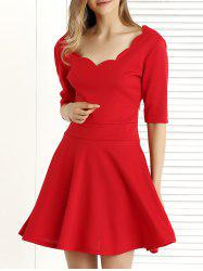 Pure Color 1/2 Sleeve Pleated Dress
