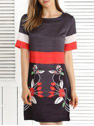 Short Sleeve Color Block Printed Dress