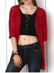 Crochet Candy Color Hollow Out Cardigan -