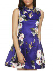 Sleeveless Round Neck Floral Print Dress -