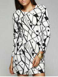 Geometric Print Long Sleeve Round Neck Dress - WHITE