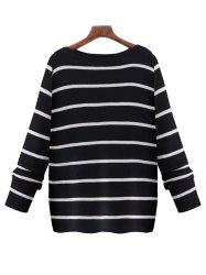 Oversized Boat Neck Long Sleeve Striped Sweater - BLACK