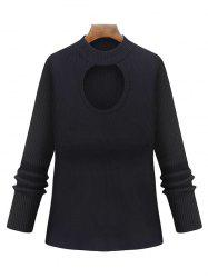 Plus Size Cut Out Keyhole Knitted Sweater -
