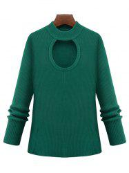 Plus Size Cut Out Keyhole Knitted Sweater - GREEN