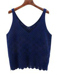 Oversized V Neck Scalloped Crochet Knitwear - DEEP BLUE 3XL