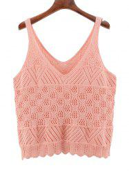 Oversized V Neck Scalloped Crochet Knitwear - PINK