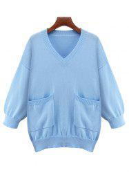 Plus Size Loose V Neck Sweater With Pocket - AZURE
