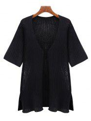 Oversized Simple Pure Color Half Sleeve Cardigan - BLACK