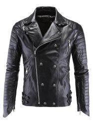 Lapel Collar Skull-Buttons Design Long Sleeve Leather Jacket - BLACK 5XL