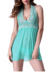 Alluring T-Back and Halter Backless Lace Spliced Sheer Babydoll For Women - GREEN