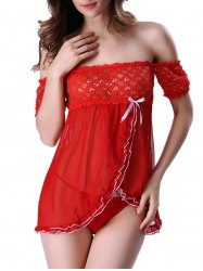 Charming T-Back and Off The Shoulder Surplice Hearts Lace Sheer Babydoll For Women - RED