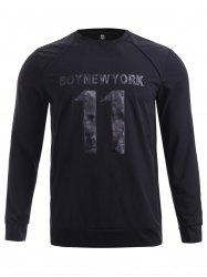 BoyNewYork Round Neck Number Printed Spliced Design Sweatshirt