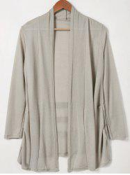 Shawl Collar Solid Color Long Sleeves Cardigan -