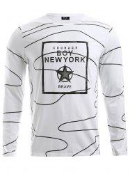 BoyNewYork Irregular Stripes Pattern Long Sleeves T-Shirt
