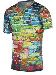 Colorful Brick Wall Print Round Neck Short Sleeve Tee For Men - COLORFUL XL