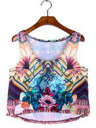 Flowers Print Cropped Tank Top -
