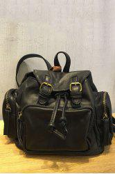 Double Buckles Backpack - BLACK