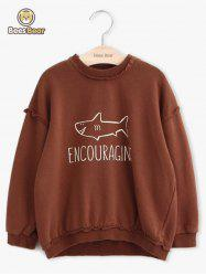 Girls Long Sleeve Shark Pattern Letter Print Sweatshirt -