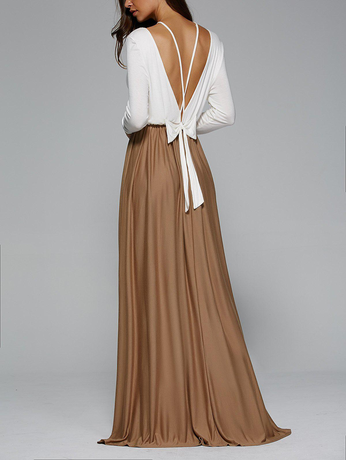 Discount Backless Pleated Long Sleeve Maxi Prom Dress