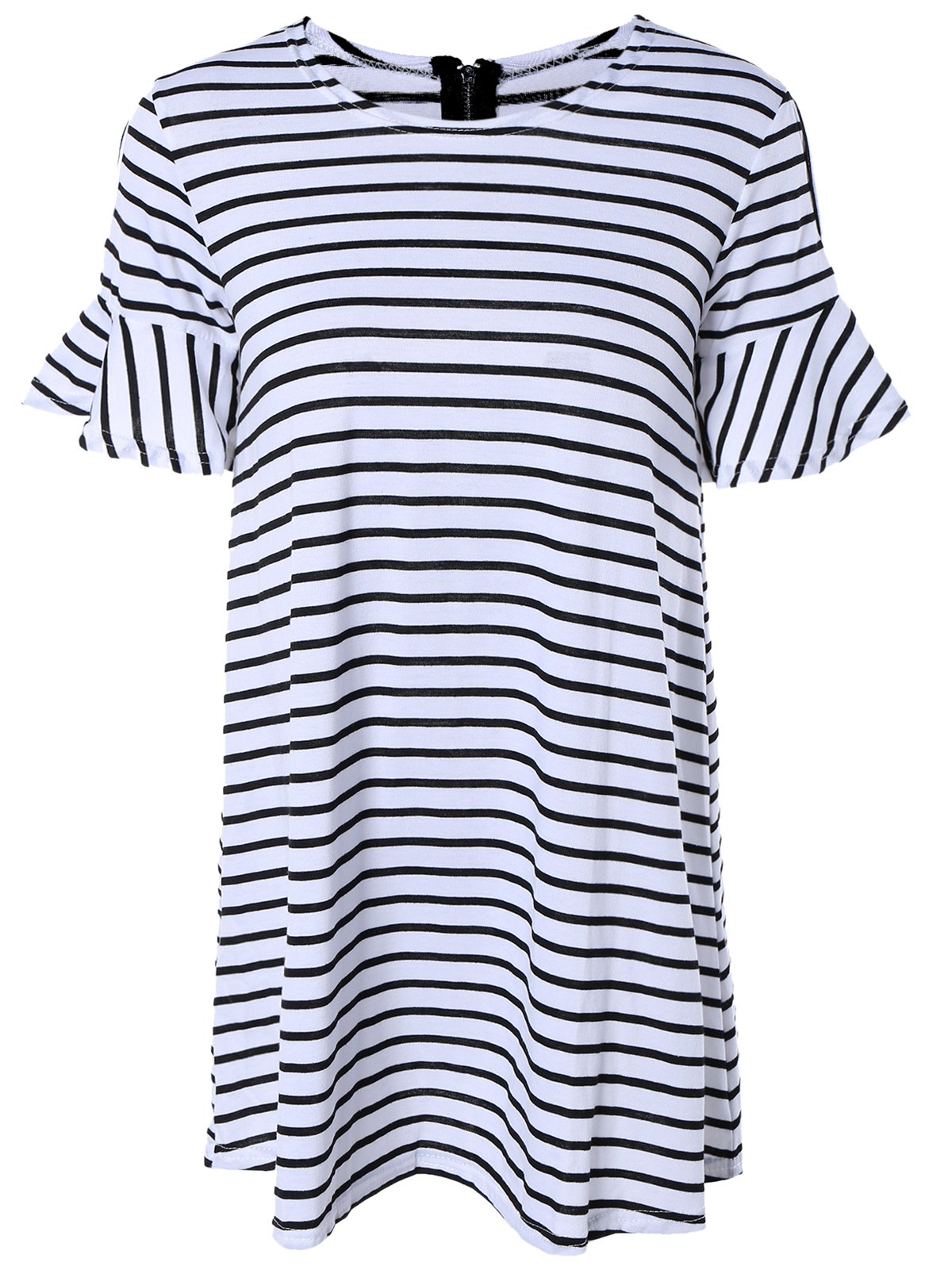 Unique Trendy Cold Shoulder Striped Loose Fitting Dress