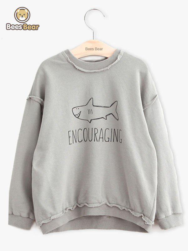 Chic Girls Long Sleeve Shark Pattern Letter Print Sweatshirt