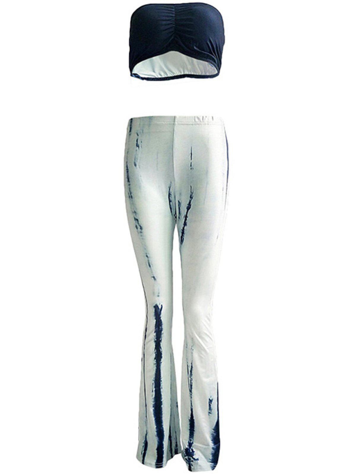 Trendy Chic Pure Color Tube Top and Trumpet Pants Set For Women