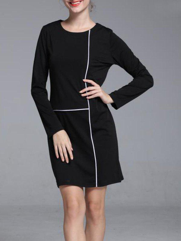 5f5dc74a45869 Graceful Contrast Trim Round Neck Long Sleeve Shift Dress For Women - S