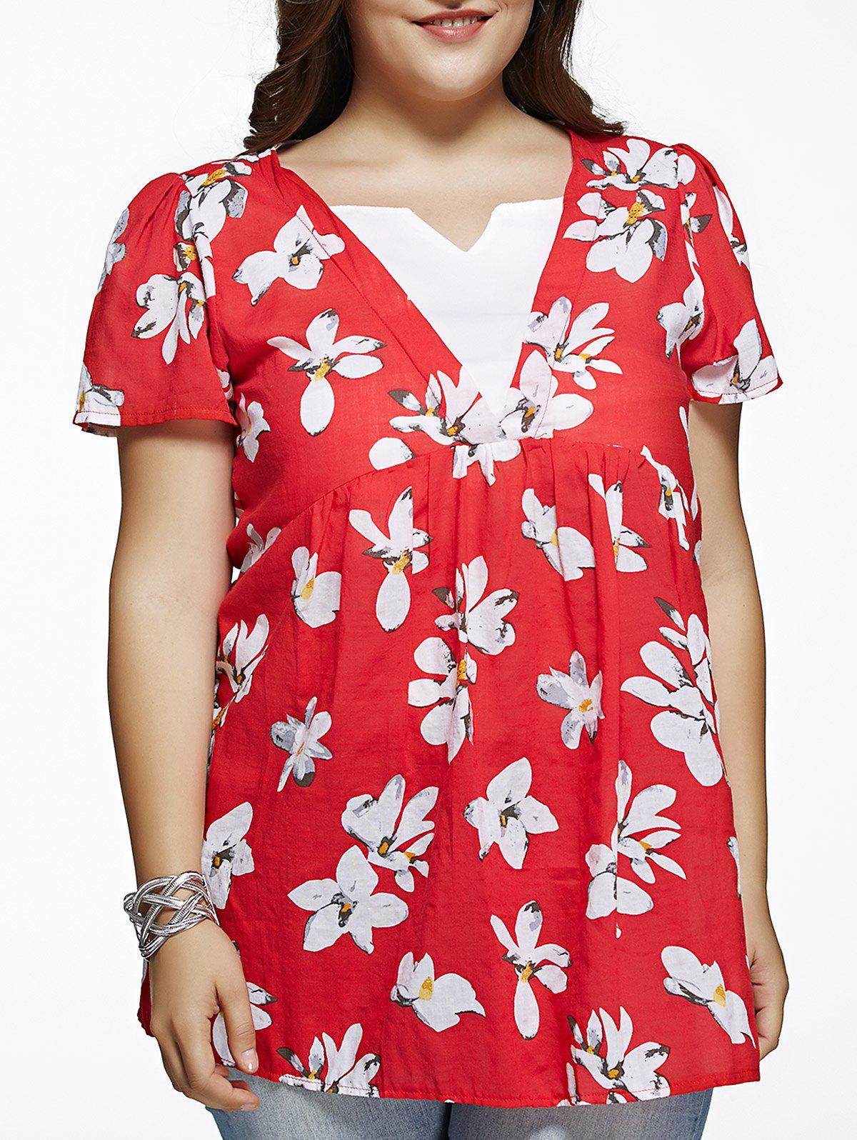 Store Refreshing Flower Print Spliced Plus Size Blouse