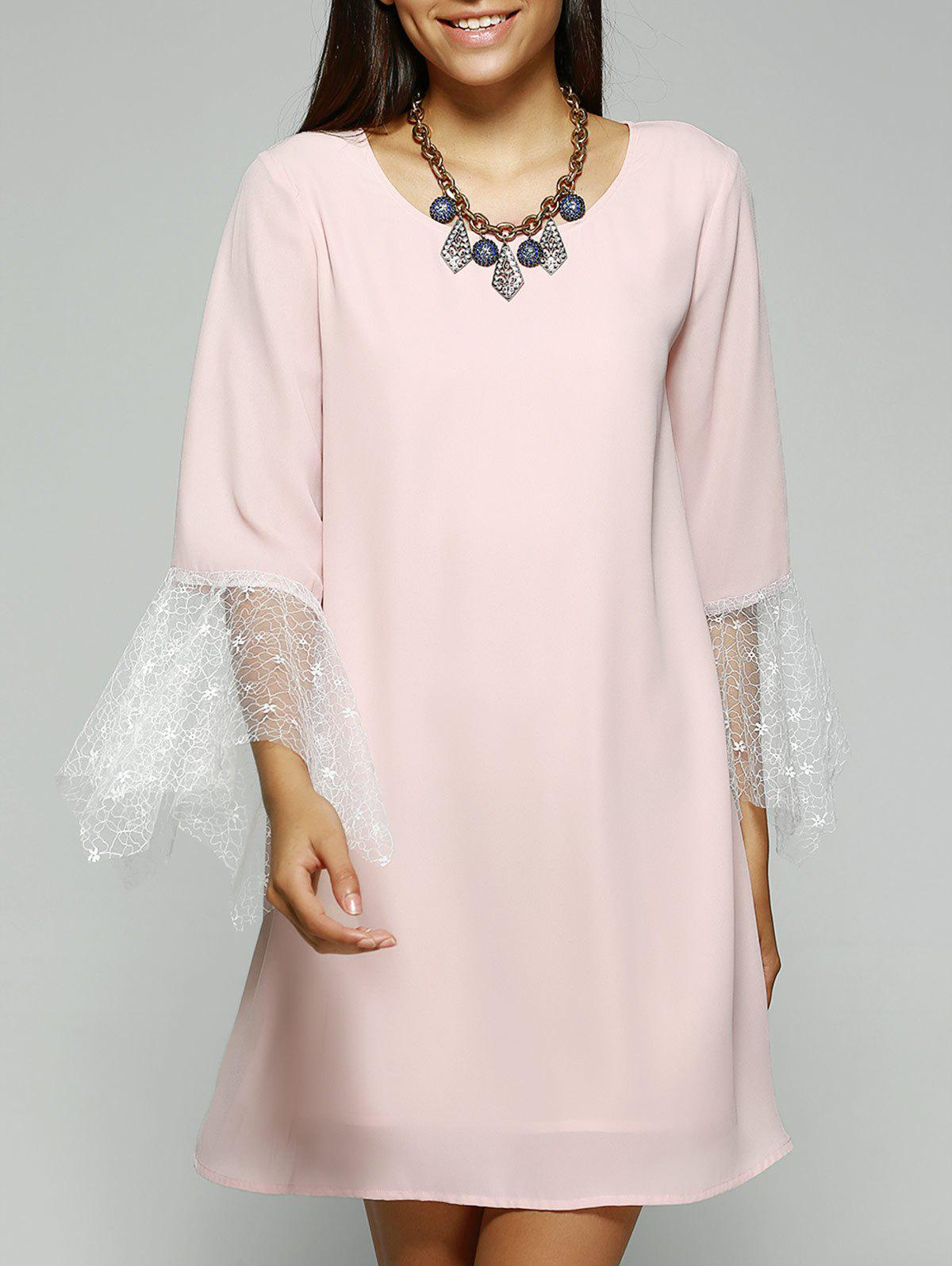 New Simple Style Women's Jewel Neck Laced Pink Dress