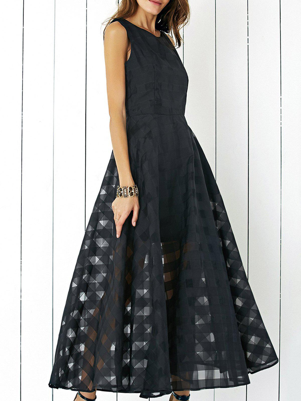 Outfit A Line Maxi Sleeveless Flowy Party Evening Dress