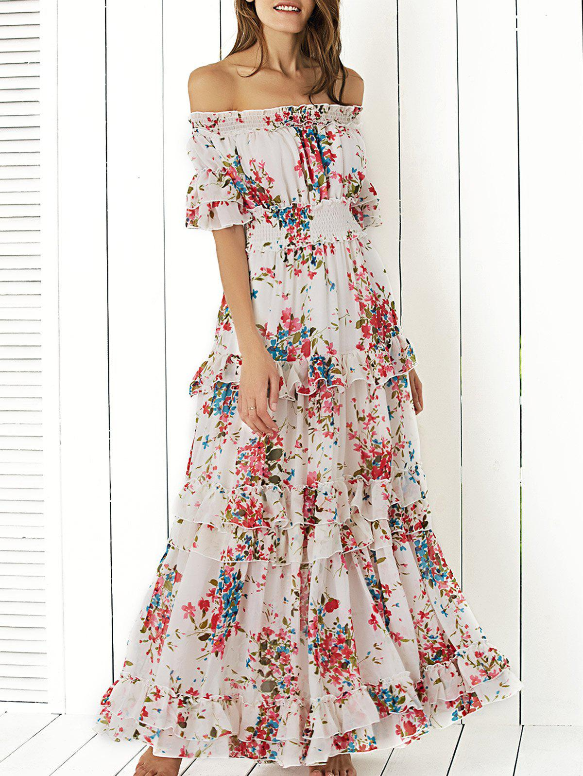 Latest Boho Off Shoulder Floral Long Flounce Dress for Wedding