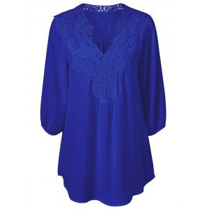 Plus Size Sweet Crochet Spliced Tunic Blouse - Sapphire Blue - 2xl