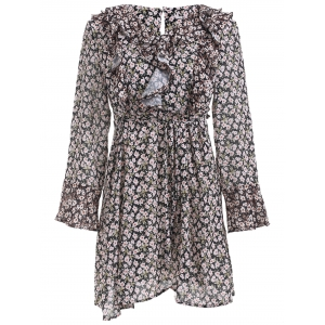 Elegant Tiny Floral Print Flounce Long Sleeve A Line Dress - Colormix - S