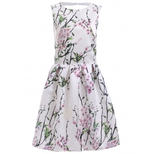 Vintage Floral Print Back Cut Out A Line Dress - White - M