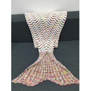 Fashion Colorful Curves Pattern Knitting Mermaid Shape Blanket