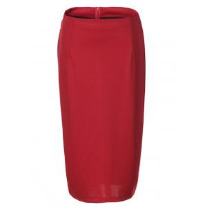 OL High Waist Pure Color Bodycon Skirt For Women - Red - L